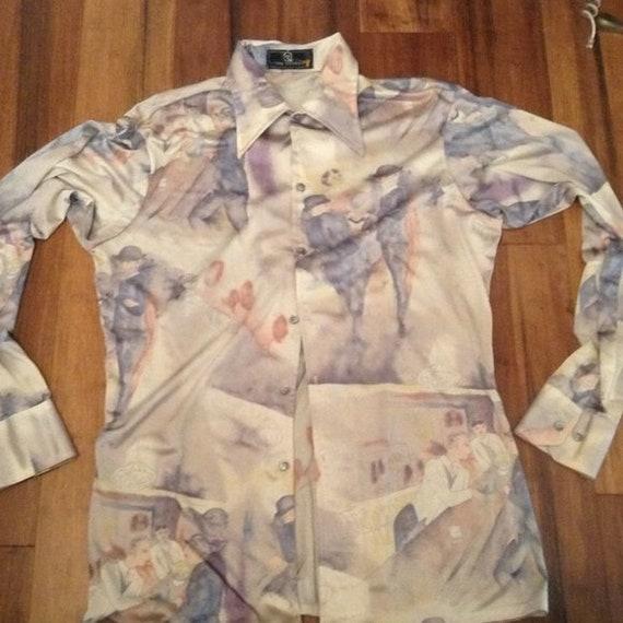 Vintage Van Heusen Disco Nylon Shirt Mens L XL Lon