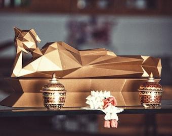 Reclining Buddha papercraft model DIY template