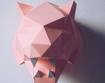 Pink Panther - Papercraft DIY Wall Mount Art