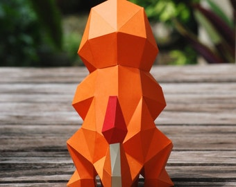 Paper craft DIY Charmander - Pokemon - paper model Art
