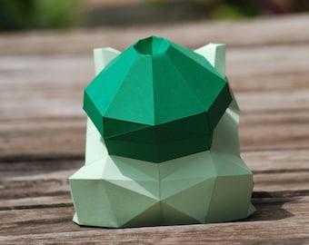 Paper craft DIY Bulbasaur - Pokemon - paper model Art