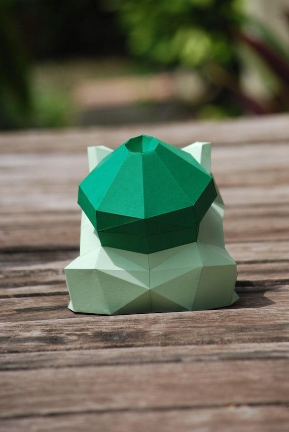 Paper Craft Diy Bulbasaur Pokemon Paper Model Art Etsy