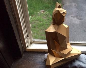 Buddha papercraft model DIY template