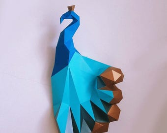 Paper craft DIY Peacock with golden tail - Magical model peacock - peacock Wall Mount Art