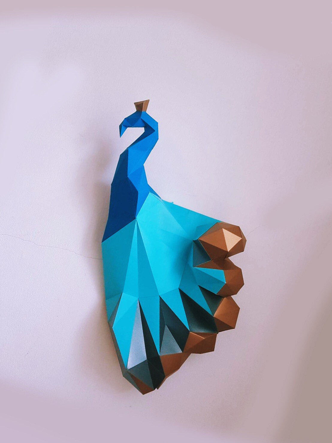 Paper Craft Diy Peacock With Golden Tail Magical Model Etsy