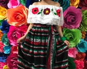 Mexican womans Cambaya dress one size Handmade- Beautiful- Frida Kahlo Virgen mexican boho hippie dress coco theme party day of the dead