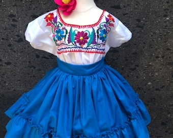 8f73cf00b48 Mexican little girls dress size 0 SKIRT ONLY practice skirt doble vuelo  circle 5 de Mayo frida Khalo inspired day of the dead