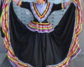 Mexican Jalisco two piece Black dress woman size L double circle ribbon 5 de Mayo day of tje dead Frida coco theme party