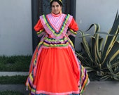 Mexican Jalisco two piece Orange dress woman size L double circle ribbon 5 de Mayo day of tje dead Frida coco theme party