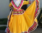 Mexican Jalisco two piece Yellow dress woman size M double circle ribbon 5 de Mayo day of tje dead Frida coco theme party