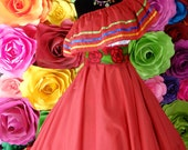 Mexican dress with top Handmade- Beautiful- Frida Kahlo style- womans mexican boho coco theme party day of the dead 96-97CM