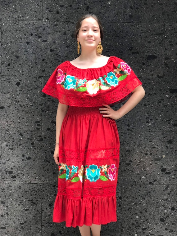 Many Colors Mexican Halter Dress with Floral Multicolor Embroidery Sundress Summer Dress Open Back Beach Wear Made in Puebla Mexico