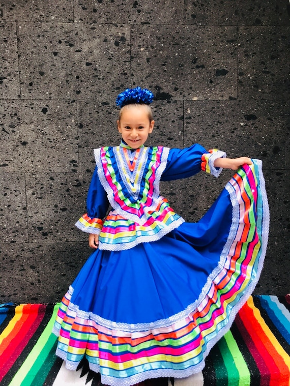 Frida Kahlo style-baby mexican boho hippie baby flower child Color Beautiful Mexican Jalisco dress Size 6 Purple stunning KIDS