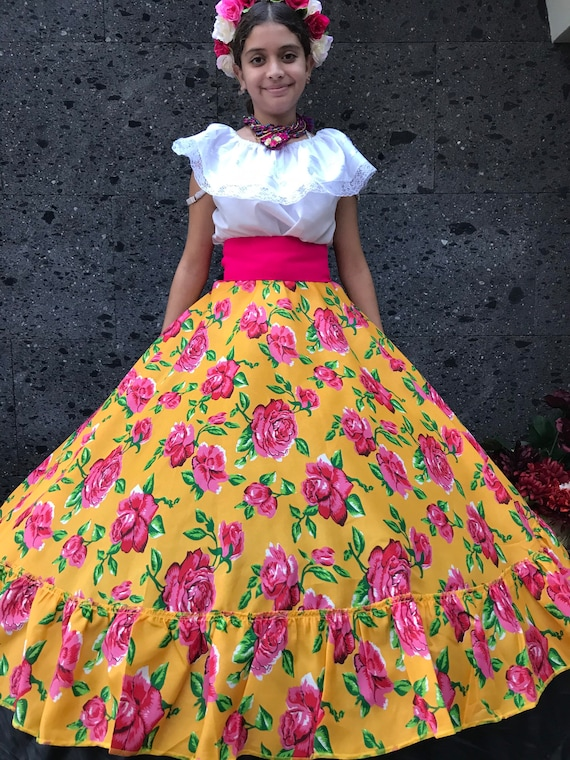 Frida Kahlo style-womans mexican boho coco theme party  day of the dead SKIRT ONLY 90CM Mexican Flowered skirt 35 inches Handmade-Beautiful