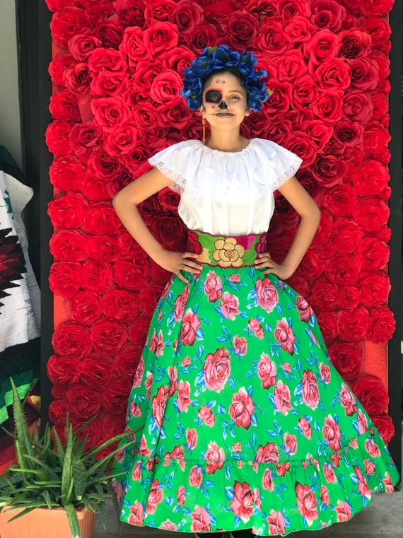 Frida Kahlo style Mexican Red  skirt  with top  Handmade Beautiful womans  mexican boho   coco theme party  day of the dead 100cm