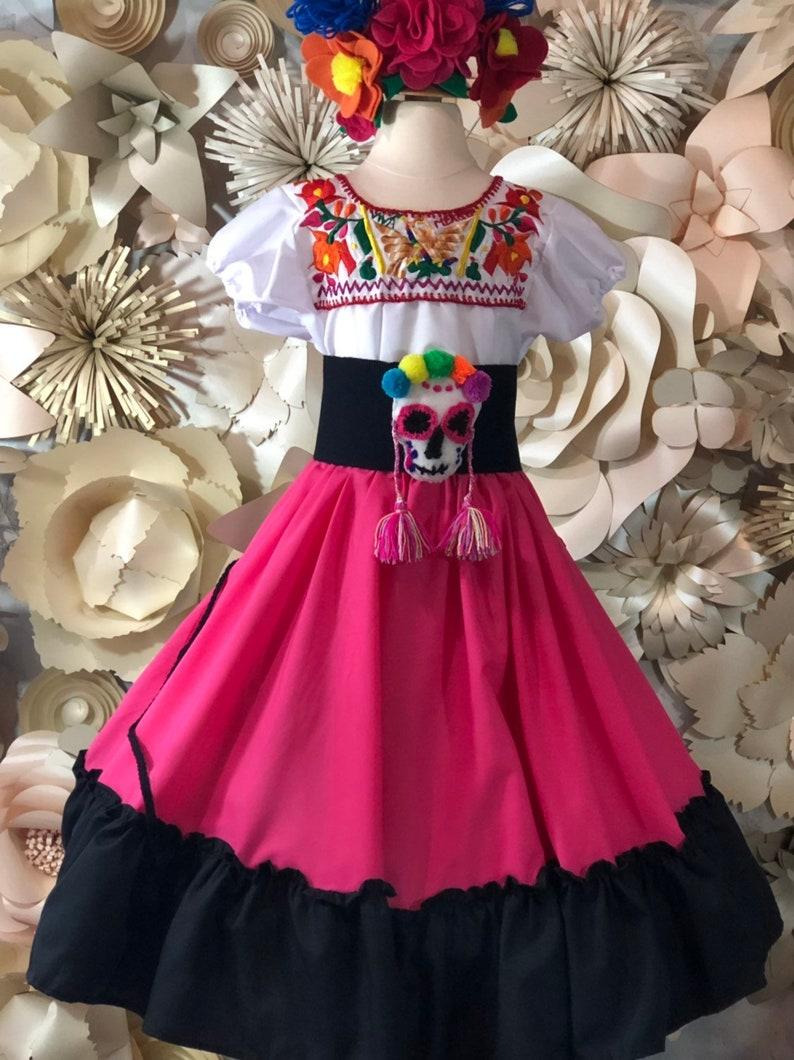 39e5016ce FALDA negra rosa mexicana sólo doble día de los muertos hechos a  mano-hermosa-Frida Kahlo estilo-Boho hippie KID cocotheme fiesta mexicana  de bodas