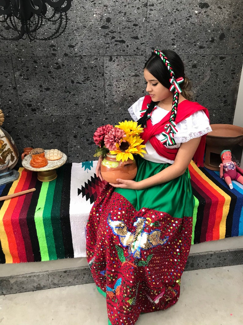 Mexican WOMENS China poblana skirt  with top Handmade-Beautiful-Frida Kahlo style womens  mexican boho coco theme party  day of the dead 100