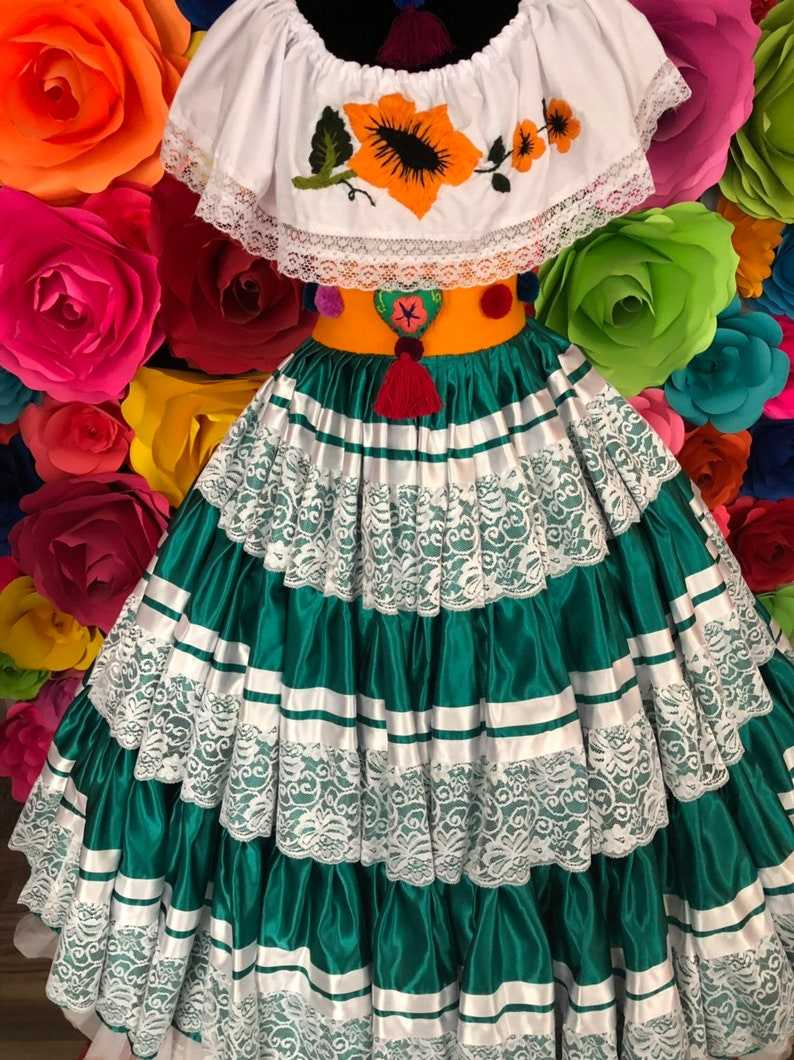Mexican Pinotepa Nacional Jade  Oaxaca  Frida Kahlo style-womans mexican boho coco theme party  day of the dead SKIRT ONLY  100cm