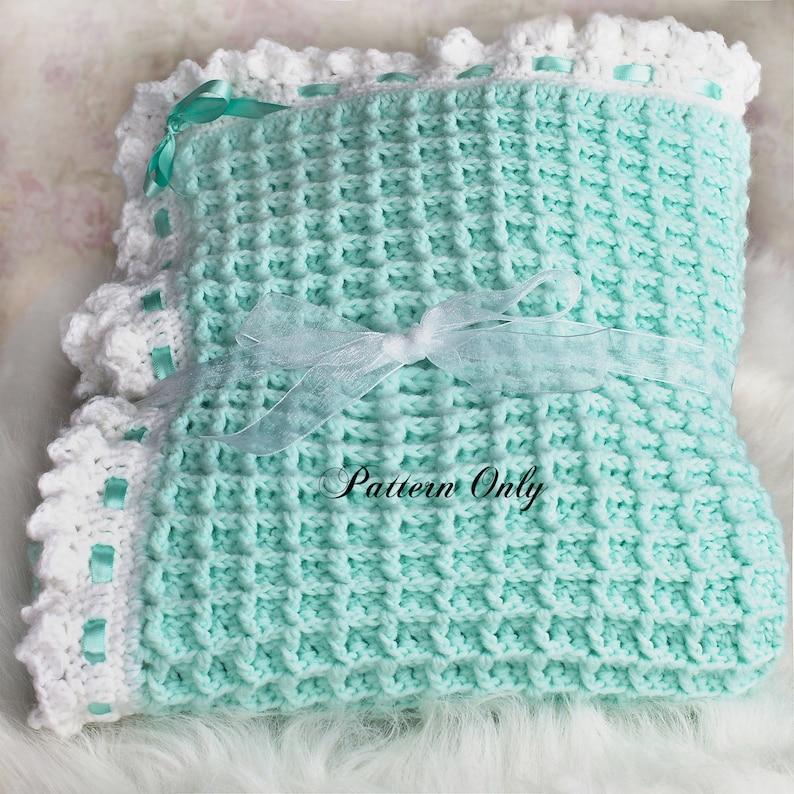 Crochet Baby Blanket Pattern Waffle Stitch Baby Blanket Pdf Etsy