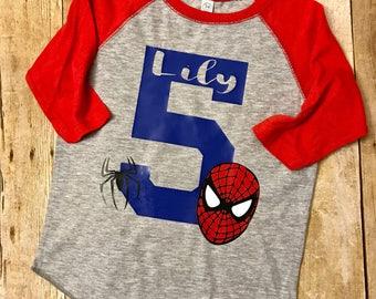 Spiderman birthday shirt, spiderman birthday