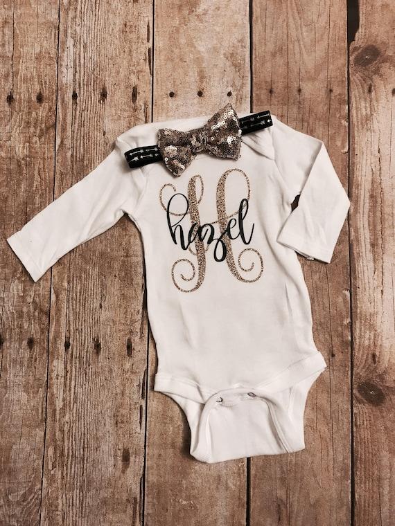 23b55c54e Monogrammed baby onesie baby girl onesie personalized baby