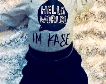 Hello world I'm (your name here) onesie, hello world onesie, newborn outfit, coming home outfit, baby boy outfit, baby shower gift