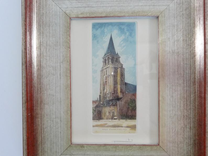 Small Framed Etchings Etching Art Church Etching Hand Colored Etchings Framed Original Etching Of Paris Leopold Robin Paris Etchings