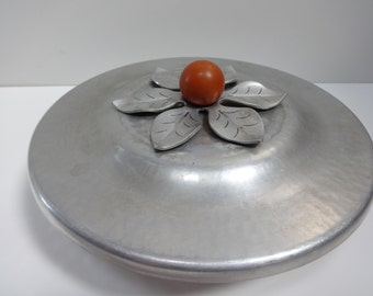 Covered Silver Dish, Covered Dish, Aluminum Covered Dish, Covered Metal Dish, Handwrought Bowl with Lid, Silver Covered Dish, Metal Dish