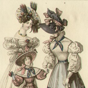 Morning Dress  Afternoon Costume 1828 English 19th Century fashion engraving