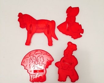Set Of Four Vintage Fairytale Cookie Cutters