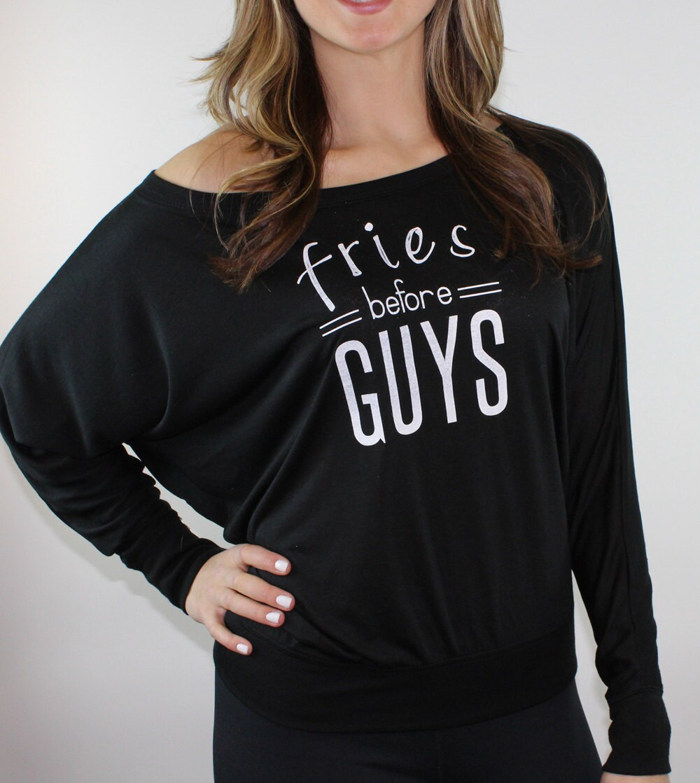 91145e87 Fries before guys long sleeved black slouchy tee. Girly shirt. | Etsy