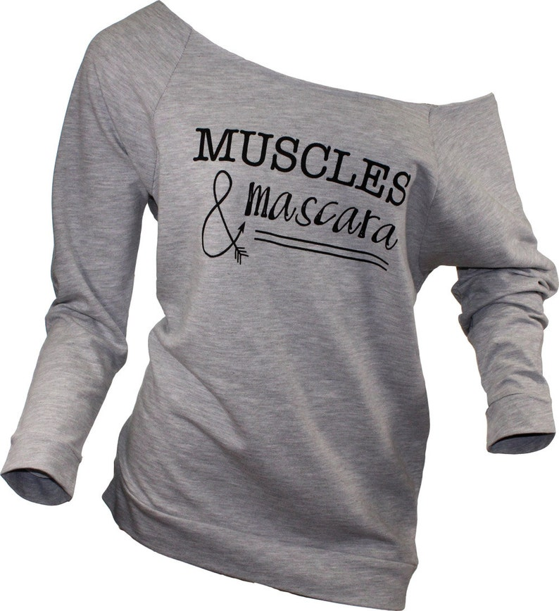 4888795d Muscles and mascara long sleeved slouchy tee in Gray. Gym | Etsy
