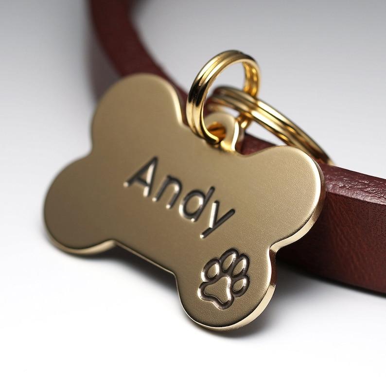 Dog Tag Bone Dog Tag Brass Dog Tag Pet ID Tags image 0