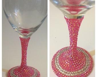 Pretty in Pink Rhinestone Wine Glass