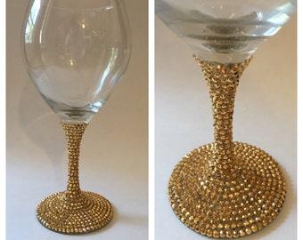 Gold Rhinestone Wine Glass