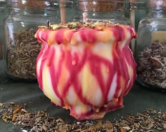 Midsummer Specialty Cauldron Candle - Optional Scented Soy Pillar Candle in Custom Shape With Contrasting Color Drip, Litha, Summer Solstice