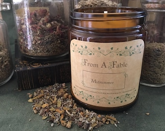 Midsummer - Litha Candle - Pagan Candle - Summer Solstice - Altar Candle - Herbal Incense  - Spirituality & Religion - Ritual Candle