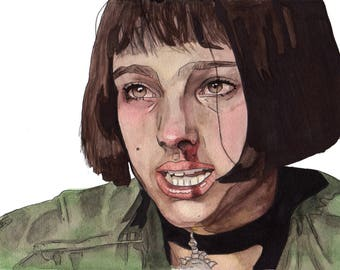 8.5x11 WATERCOLOR painting PRINT of Mathilda from Leon the Professional!