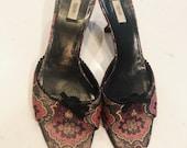 Vintage PRADA kitten heels Mules Slip On size 38.5 Open Toe