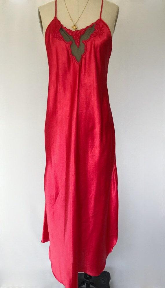 Vintage red maxi slip dress M