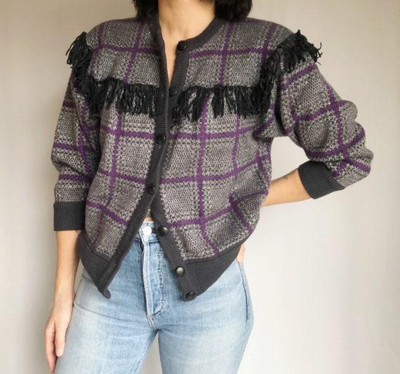 Vintage 80's leather fringe knit cardigan XS