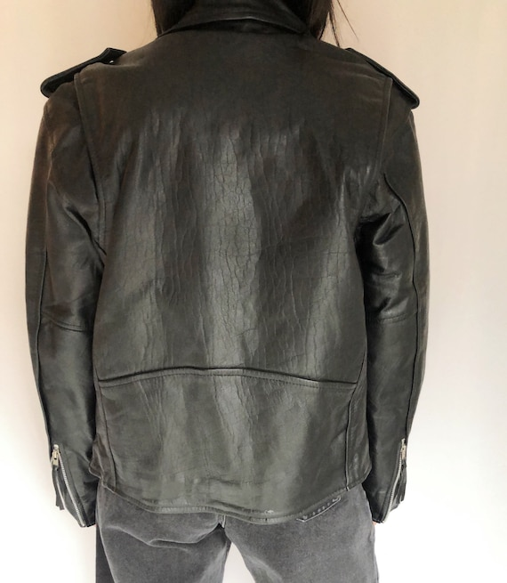 Vintage leather motorcycle biker jacket S - image 4