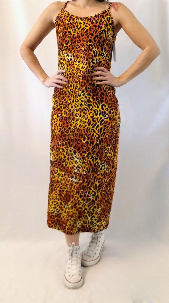 Vintage 90's leopard animal print maxi dress S