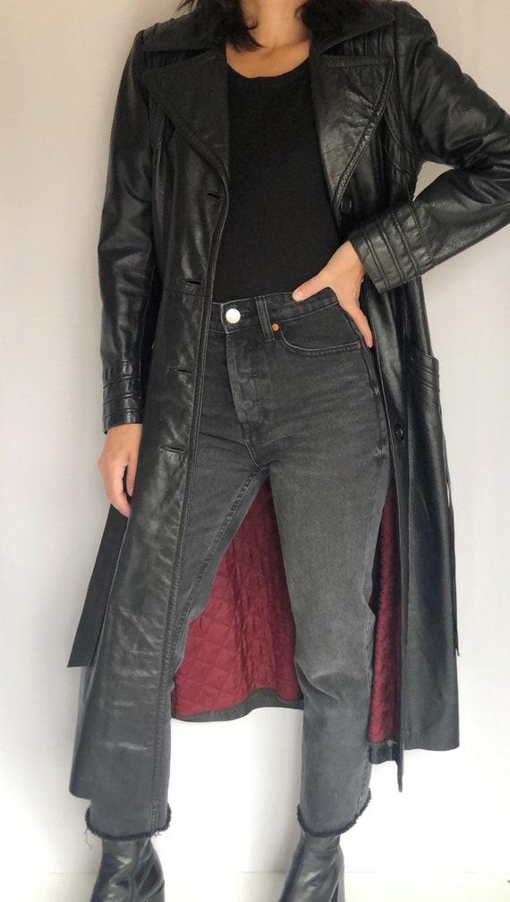 Vintage 70's leather trench coat XS S