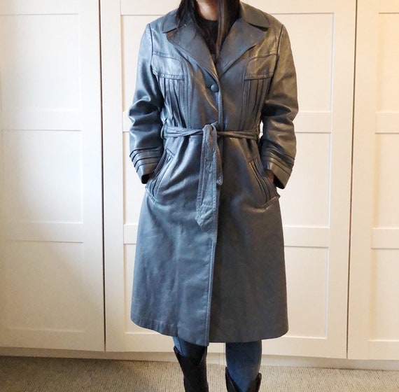 Vintage 70's soft leather trench blue M - image 4