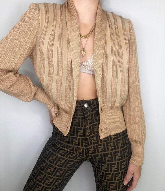 Vintage Hetta Bretz silk suede knit cardigan sweat