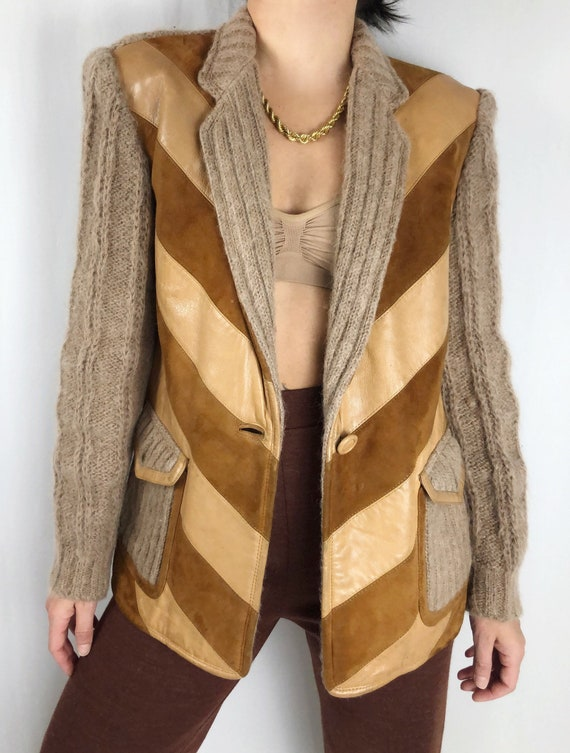 Vintage cable knit leather suede jacket S