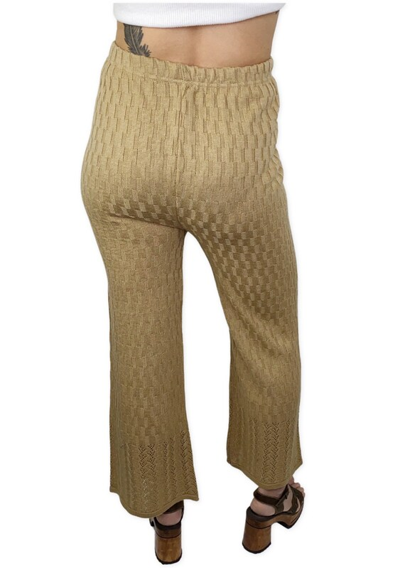 Vintage Knit crochet high waisted pants L - image 2