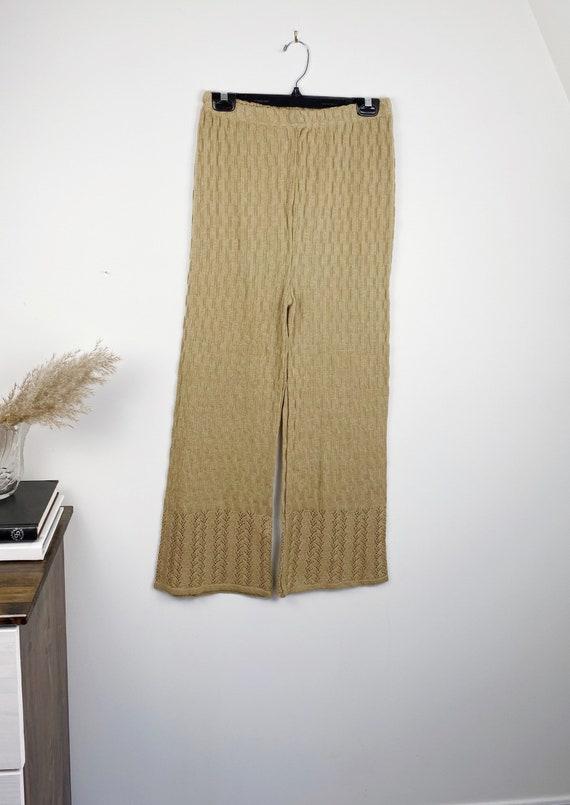 Vintage Knit crochet high waisted pants L - image 3