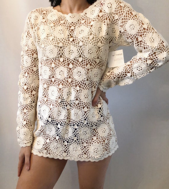Vintage crochet sweater S